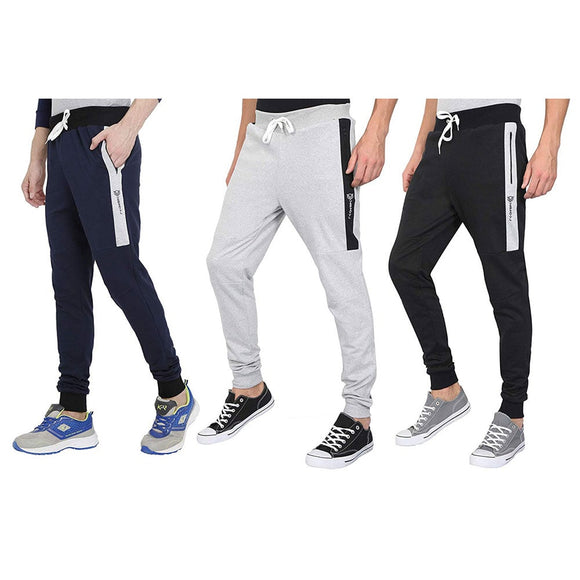 MEN'S COTTON STYLISH SLIM FIT ATHLETIC JOGGERS/TRACK PANTS FOR RUNNING, GYM, TREKKING, CASUAL WEAR, (BLACK, BLUE,GREY) – PACK OF 3