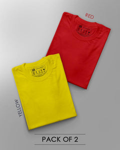 Forever Sleepy Half Sleeve T-Shirt (Red, Yellow ) – PACK OF 2