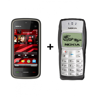 Nokia 5233 + Nokia 1100  (with 6 month warranty) ( Refurbished )