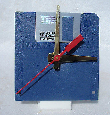 "Floppy Disk Clock - BLUE - Recycled 3.5"" Desk Clock Techie Geek Gift"