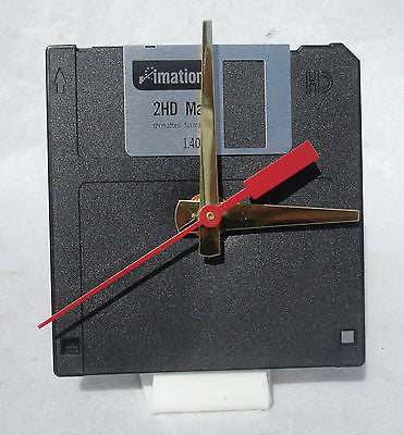 "Floppy Disk Clock - BLACK - Recycled 3.5"" Desk Clock Techie Geek Gift"
