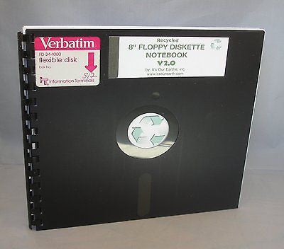 "8"" Floppy Disk Notebook 1 PACK Black Diskette Great Geek Gift Vintage Disk"
