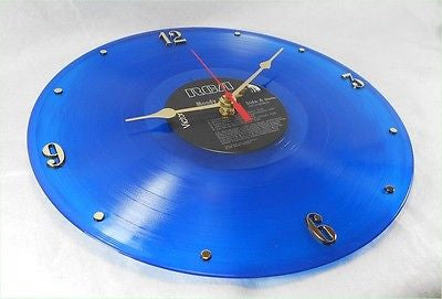 Recycled Vinyl Record Clock Blue Vinyl