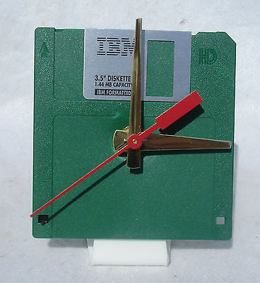 "Floppy Disk Clock - GREEN - Recycled 3.5"" Desk Clock Techie Geek Gift"
