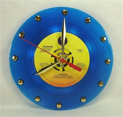 Clock made w/a MADONNA Record / True Blue / Blue Color Vinyl
