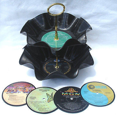 2 Tier Snack Tray / Bowl and 4 Drink Coasters Party Set - Recycled Records