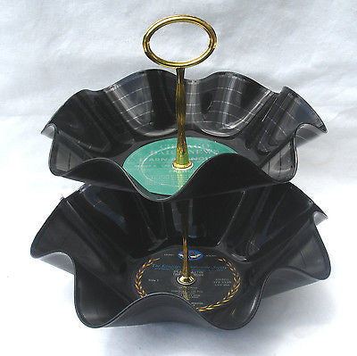 2 Tier Snack Tray / Bowl - Recycled Record Dessert Tray