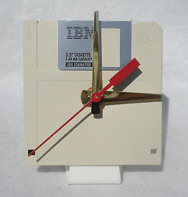 "Floppy Disk Clock - BEIGE - Recycled 3.5"" Desk Clock Techie Geek Gift"