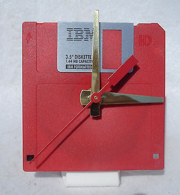 "Floppy Disk Clock - RED - Recycled 3.5"" Desk Clock Techie Geek Gift"