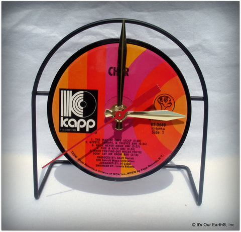 "Desk Clock made w/a CHER LP / ""Gypsys, Tramps & Thieves"" Recycled Record"