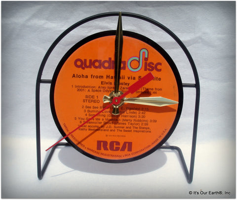 "Desk Clock made w/a ELVIS PRESLEY LP / ""Aloha From Hawaii"" Recycled Record"