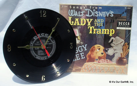 Clock made w/a Disney's LADY AND THE TRAMP Record / with Album Cover 10""