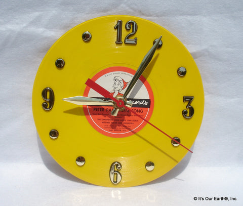"Clock made w/a PETER PAN Record / ""Theme Song"" (1953) 7"" Yellow Vinyl"