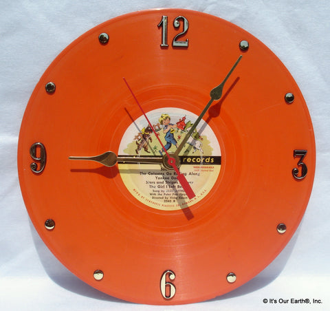"Clock made w/a PETER PAN Record / Various Childrens Songs (1950) 10"" Orange Vinyl"