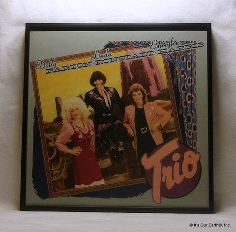 "DOLLY PARTON Framed Album Cover ""Trio"" (1987) Linda Ronstadt & Emmylou Harris"