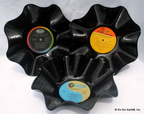 Recycled Vinyl Record Bowls 3 Pack