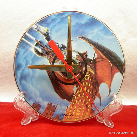"CD Clock made w/a MEAT LOAF Compact Disc ""Bat Out Of Hell"" Stand Included"