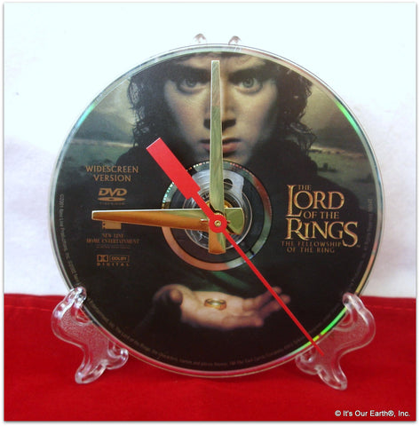 "DVD Clock made w/a LORD OF THE RINGS Digital Video Disc / ""..Fellowship.."" Stand Included"