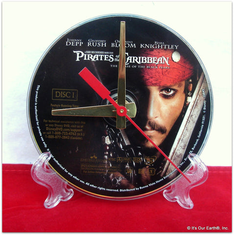 "DVD Clock made w/a PIRATES OF THE CARIBBEAN Digital Video Disc / ""..Black Pearl.."" Stand Included"