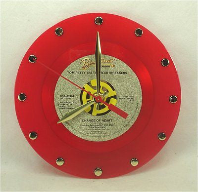 Clock made w/a TOM PETTY Record / Change Of Heart / Red Color Vinyl