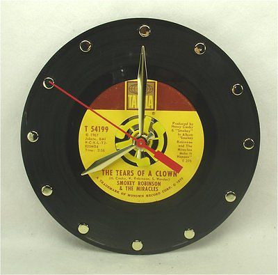 Clock made w/a SMOKEY ROBINSON Record / The Tears Of A Clown