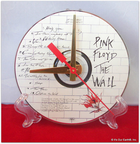 "CD Clock made w/a PINK FLOYD Compact Disc / ""The Wall"" Stand Included"