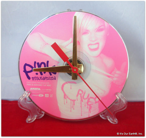 "CD Clock made w/a PINK Compact Disc / ""Missundaztood"" Stand Included"