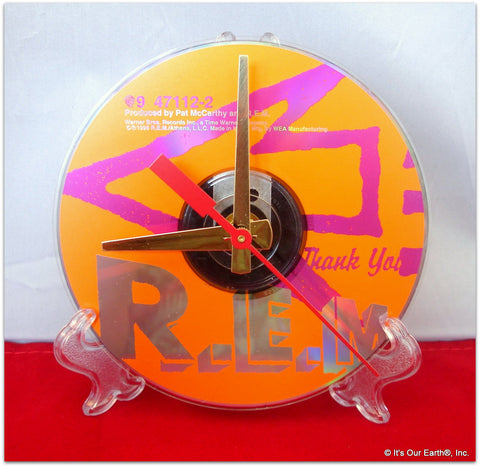 "CD Clock made w/a R.E.M. Compact Disc / ""Up"" Stand Included"