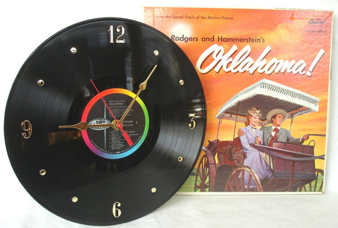 Clock made w/a OKLAHOMA! Record / Movie Soundtrack / with Album Jacket
