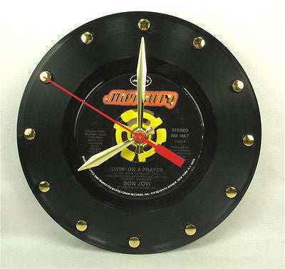 "Clock made w/a BON JOVI Record ""Livin' On A Prayer"" (1986)"