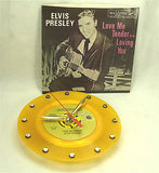 "Clock made w/a ELVIS PRESLEY Record ""Love Me Tender"" (1956) Yellow Vinyl"