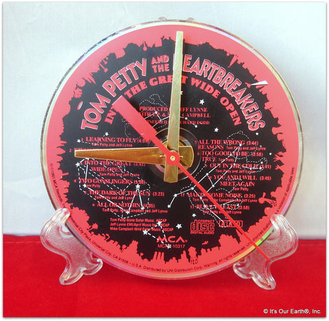 "CD Clock made w/a TOM PETTY Compact Disc / ""In The Great Wide Open"" Stand Included"