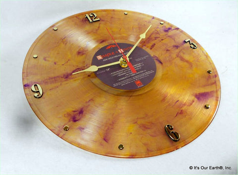 "Clock made w/a SIMPLE MINDS Record ""New Gold Dream"" (1982) Color Vinyl"