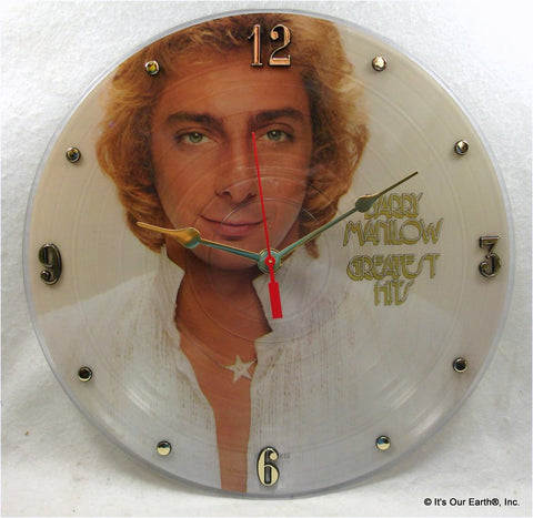 "Clock made w/a BARRY MANILOW Record / ""Greatest Hits"""