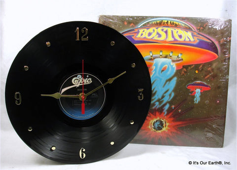 "Clock made w/a BOSTON Record ""Boston"" (1976)"