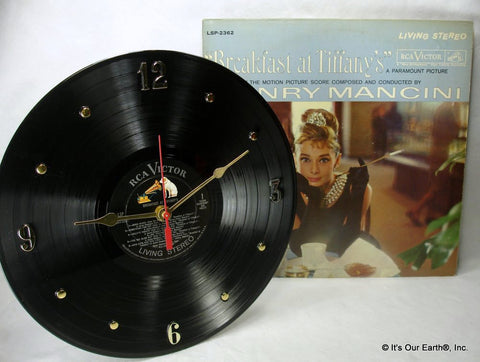 "Clock made w/a BREAKFAST AT TIFFANY's Record ""Soundtrack"" (1961)"