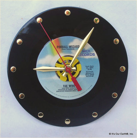 "Clock made w/a WHO Record ""Pinball Wizard"" (1969)"