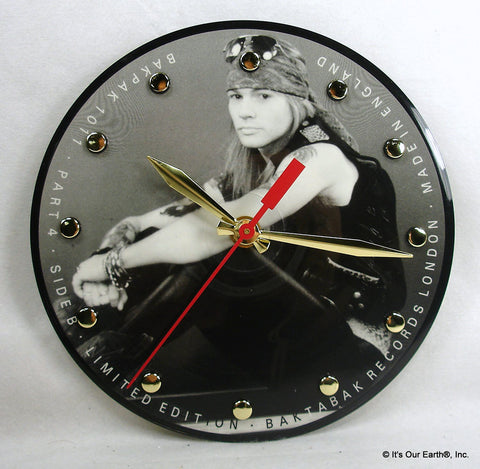 Clock made w/a GUNS N' ROSES Record - Interview Picture Disc Axl Rose