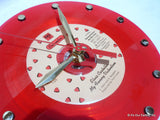 "Clock made w/a ELVIS COSTELLO Record ""My Funny Valentine"" (1979) Red Vinyl"