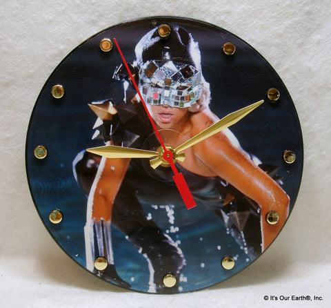 "Clock made w/a LADY GAGA Record ""Poker Face"" (2008) Picture Disc"