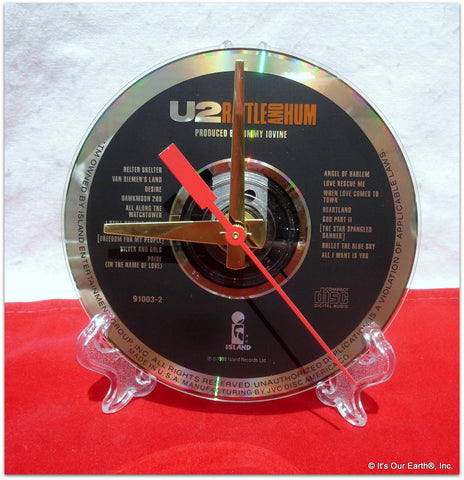 "CD Clock made w/a U2 Compact Disc / ""Rattle and Hum"" Stand Included"