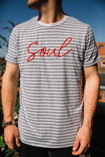 Striped tee with red SOUL