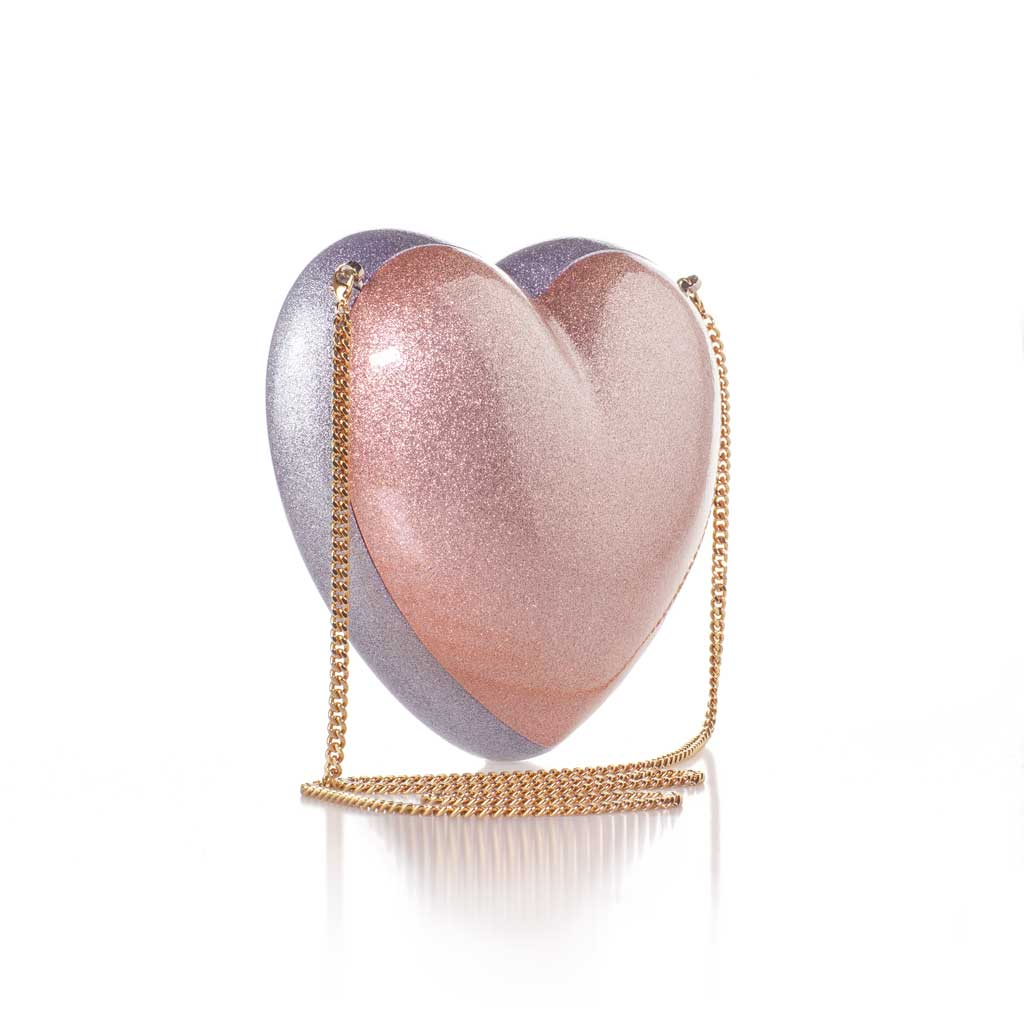 The Morning After - The Confetta Heart-Shaped Silver and Rose Minaudiere