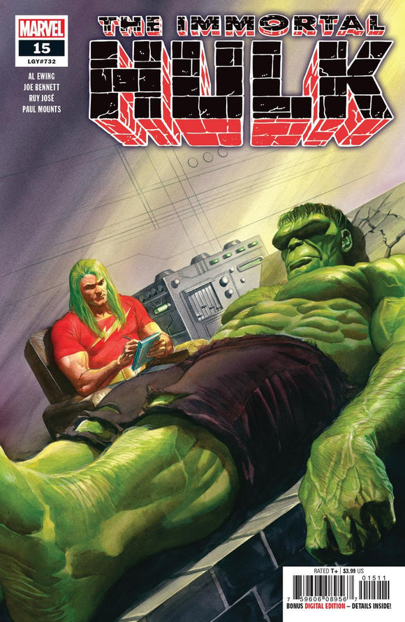 Immortal Hulk #15 A Alex Ross Variant 1St Print Vf+/nm+ Comic