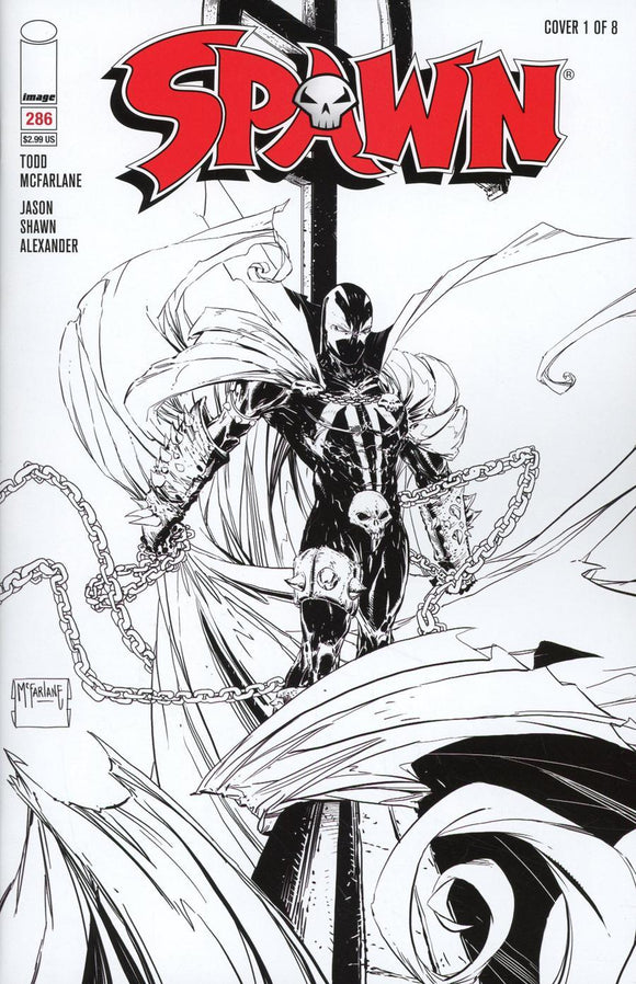 Spawn #286 A Todd Mcfarlane B&w Sketch 1St Print Vf+/nm+ Comic