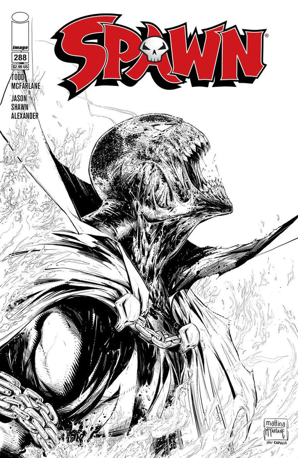Spawn #288 C Francesco Mattina B&w Sketch 1St Print Vf+/nm+ Comic