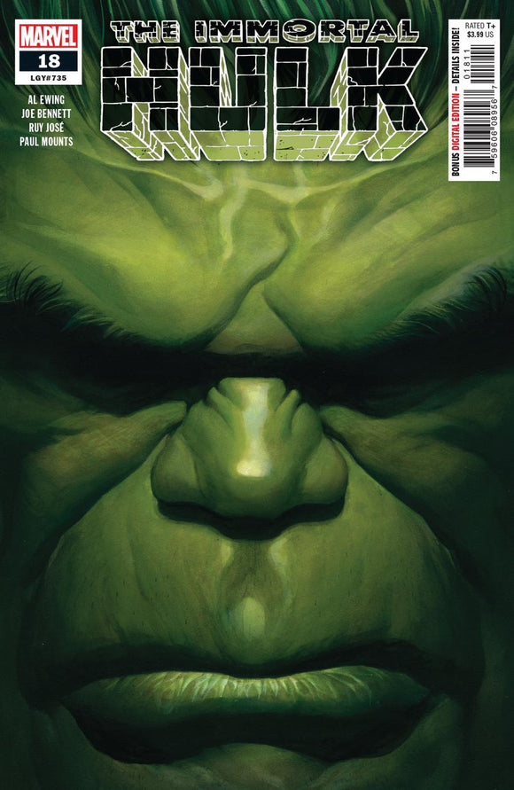 Immortal Hulk #18 A 1St Print Alex Ross Vf+/nm+ Comic