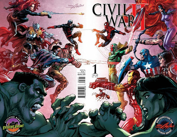 CIVIL WAR II 1 NEAL ADAMS EXCLUSIVE SLEEPING GIANT WRAPAROUND VARIANT NM