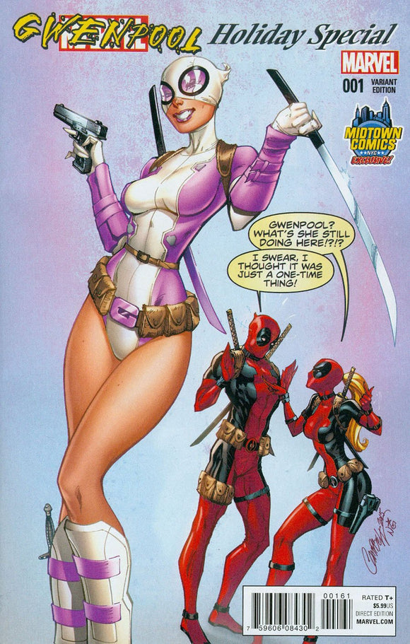 Gwenpool Holiday Special #1 B Midtown J Scott Campbell Variant Nm-/nm+ Deadpool Comic