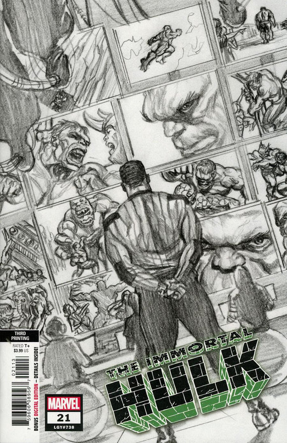 Immortal Hulk #21 C Alex Ross B&W variant NM 3rd